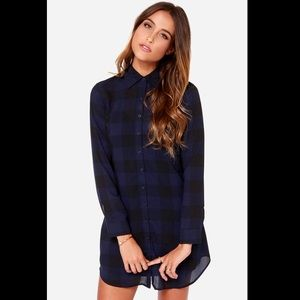 BB Dakota Blue Plaid Shirt Dress - small